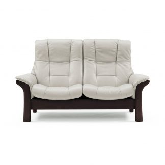 Sofa BUCKINGHAM hoch 2-Sitzer Leder Paloma light grey Gestell braun Stressless