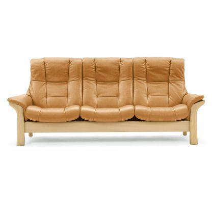 Sofa BUCKINGHAM hoch 3-Sitzer Leder Cori tan Gestell natur Stressless
