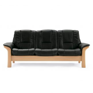 Sofa BUCKINGHAM hoch 3-Sitzer Leder Paloma black Gestell natur Stressless