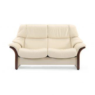 Sofa ELDORADO hoch 2-Sitzer Leder Batick cream Gestell braun Stressless