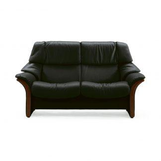 Sofa ELDORADO hoch 2-Sitzer Leder Paloma black Gestell braun Stressless
