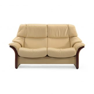 Sofa ELDORADO hoch 2-Sitzer Leder Paloma sand Gestell braun Stressless