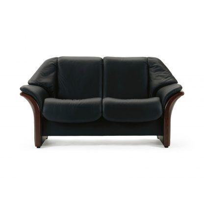 Sofa ELDORADO niedrig 2-Sitzer Leder Paloma black Gestell braun Stressless