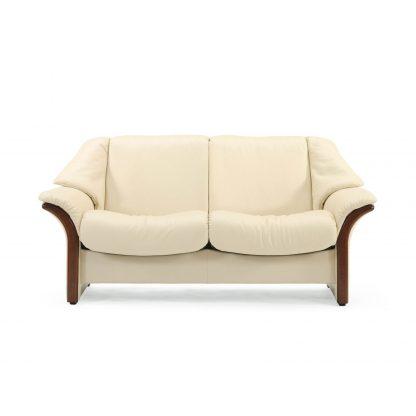 Sofa ELDORADO niedrig 2-Sitzer Leder Paloma vanilla Gestell braun Stressless