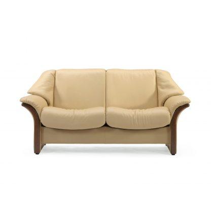 Sofa ELDORADO niedrig 2-Sitzer Leder Paloma sand Gestell braun Stressless