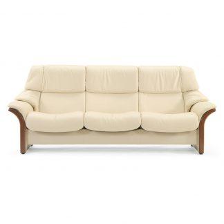 Sofa ELDORADO hoch 3-Sitzer Leder Paloma vanilla Gestell braun Stressless