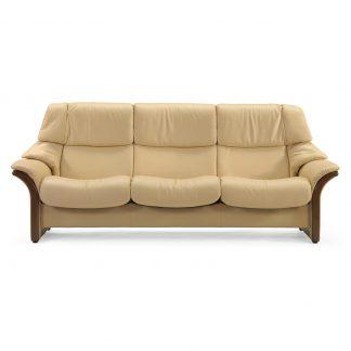 Sofa ELDORADO hoch 3-Sitzer Leder Paloma sand Gestell braun Stressless