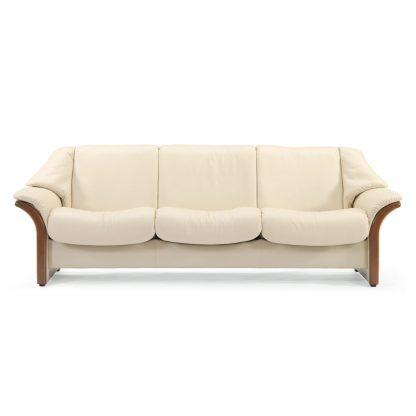 Sofa ELDORADO niedrig 3-Sitzer Leder Batick cream Gestell braun Stressless