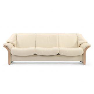 Sofa ELDORADO niedrig 3-Sitzer Leder Batick cream Gestell natur Stressless