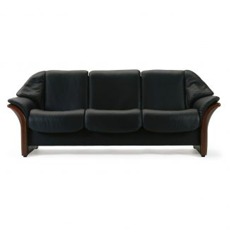 Sofa ELDORADO niedrig 3-Sitzer Leder Paloma black Gestell braun Stressless