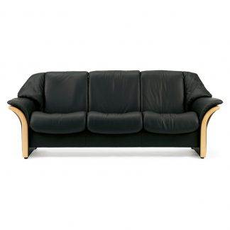 Sofa ELDORADO niedrig 3-Sitzer Leder Paloma black Gestell natur Stressless