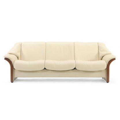 Sofa ELDORADO niedrig 3-Sitzer Leder Paloma vanilla Gestell braun Stressless