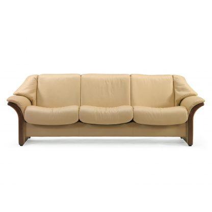 Sofa ELDORADO niedrig 3-Sitzer Leder Paloma sand Gestell braun Stressless