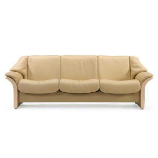 Sofa ELDORADO niedrig 3-Sitzer Leder Paloma sand Gestell natur Stressless