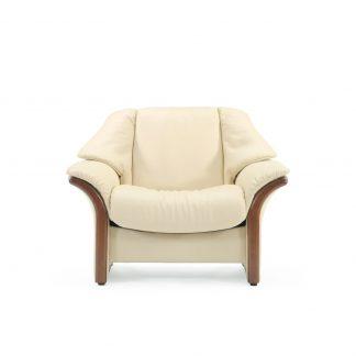 Sofa ELDORADO niedrig Leder Paloma vanilla Gestell braun Stressless