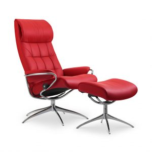 Sessel LONDON High Back mit Hocker Leder Batick chilli red Starbase Gestell metall Stressless