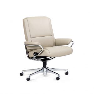 Sessel PARIS Low Back Home Office Leder Paloma light grey Starbase Gestell metall mit Rollen Stressless