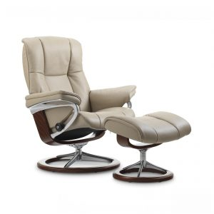 Sessel MAYFAIR Signature mit Hocker Leder Cori beige Gestell teak Stressless