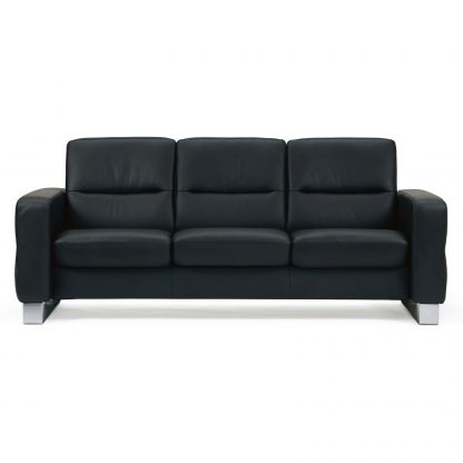 Sofa WAVE niedrig 3-Sitzer Leder Paloma black Gestell stahl Stressless