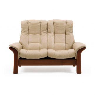Sofa WINDSOR hoch 2-Sitzer Leder Paloma sand Gestell braun Stressless