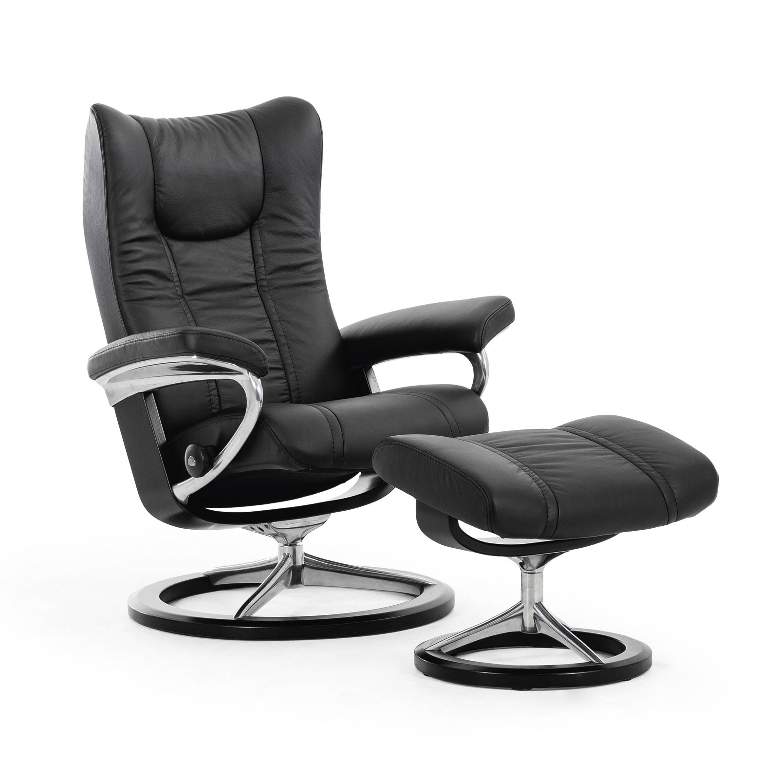 relaxsessel stressless wing paloma black untergestell schwarz mit hocker house of comfort. Black Bedroom Furniture Sets. Home Design Ideas