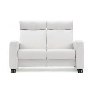 Sofa ARION hoch 2-Sitzer Leder Batick snow Gestell schwarz Stressless