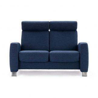 Sofa ARION hoch 2-Sitzer Stoff Dinamica blue Gestell stahl Stressless