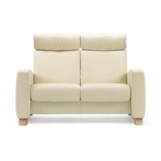 Sofa ARION hoch 2-Sitzer Leder Paloma vanilla Gestell natur Stressless