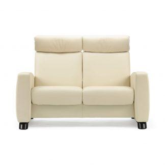 Sofa ARION hoch 2-Sitzer Leder Paloma vanilla Gestell schwarz Stressless