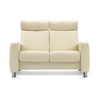 Sofa ARION hoch 2-Sitzer Leder Paloma vanilla Gestell stahl Stressless