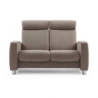 Sofa ARION hoch 2-Sitzer Stoff Siena dark beige Gestell stahl Stressless