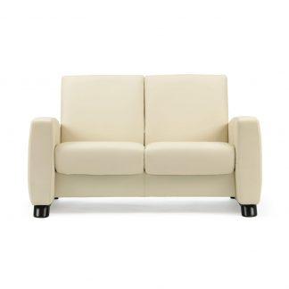 Sofa ARION niedrig 2-Sitzer Leder Paloma vanilla Gestell stahl Stressless