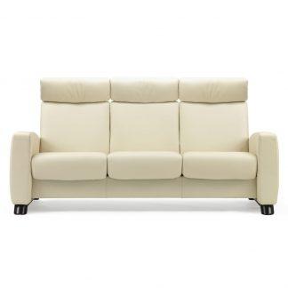 Sofa ARION hoch 3-Sitzer Leder Paloma vanilla Gestell schwarz Stressless