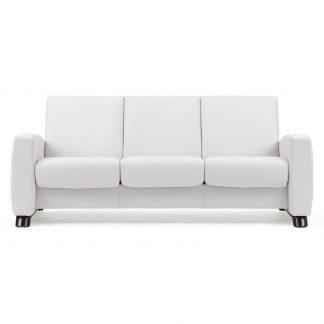 Sofa ARION niedrig 3-Sitzer Leder Batick snow Gestell schwarz Stressless