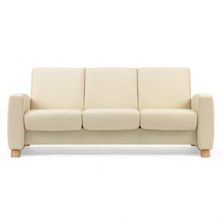 Sofa ARION niedrig 3-Sitzer Leder Paloma vanilla Gestell natur Stressless