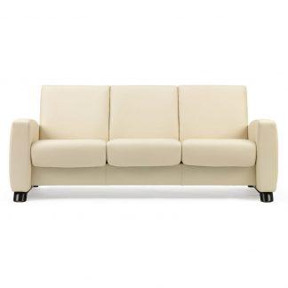 Sofa ARION niedrig 3-Sitzer Leder Paloma vanilla Gestell schwarz Stressless