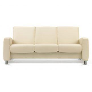 Sofa ARION niedrig 3-Sitzer Leder Paloma vanilla Gestell stahl Stressless