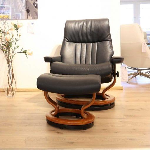 angebot stressless crown l hocker blue kirsche. Black Bedroom Furniture Sets. Home Design Ideas