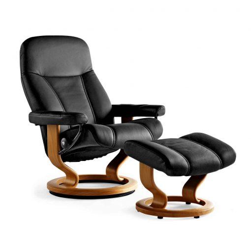 stressless sessel consul batick schwarz hocker stressless. Black Bedroom Furniture Sets. Home Design Ideas