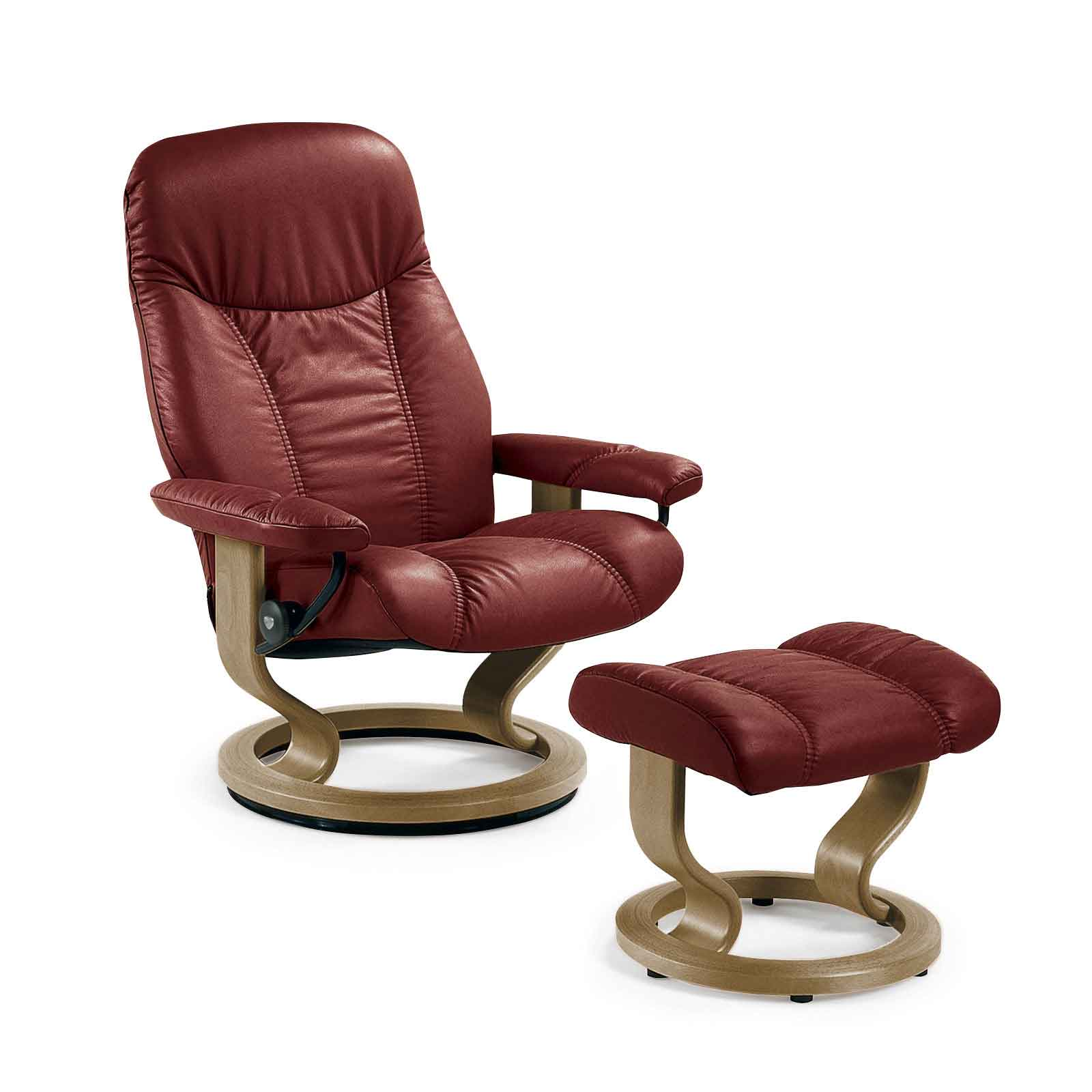 stressless sessel consul s weinrot burgundy mit hocker. Black Bedroom Furniture Sets. Home Design Ideas