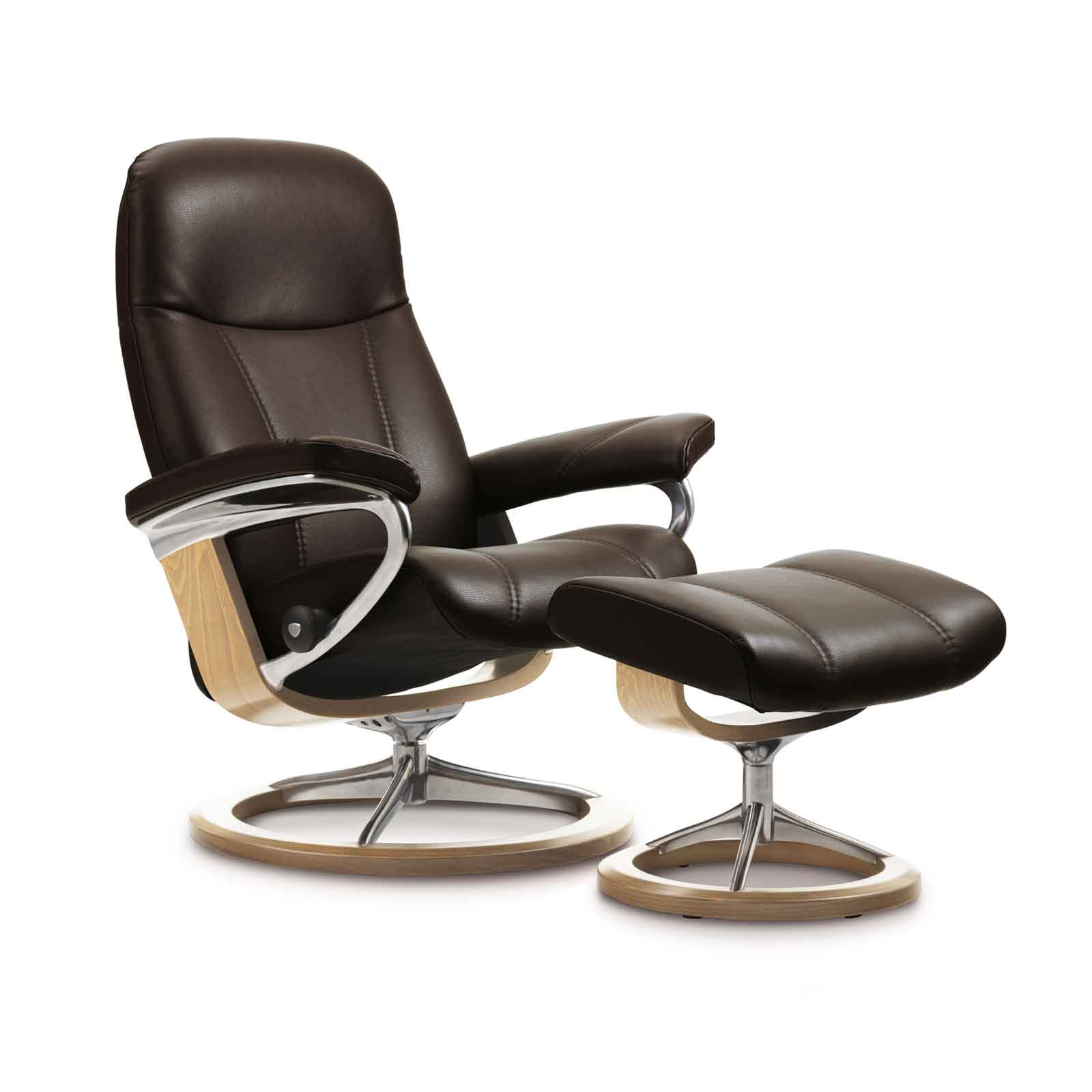 stressless sessel consul batick braun signature gestell mit hocker. Black Bedroom Furniture Sets. Home Design Ideas