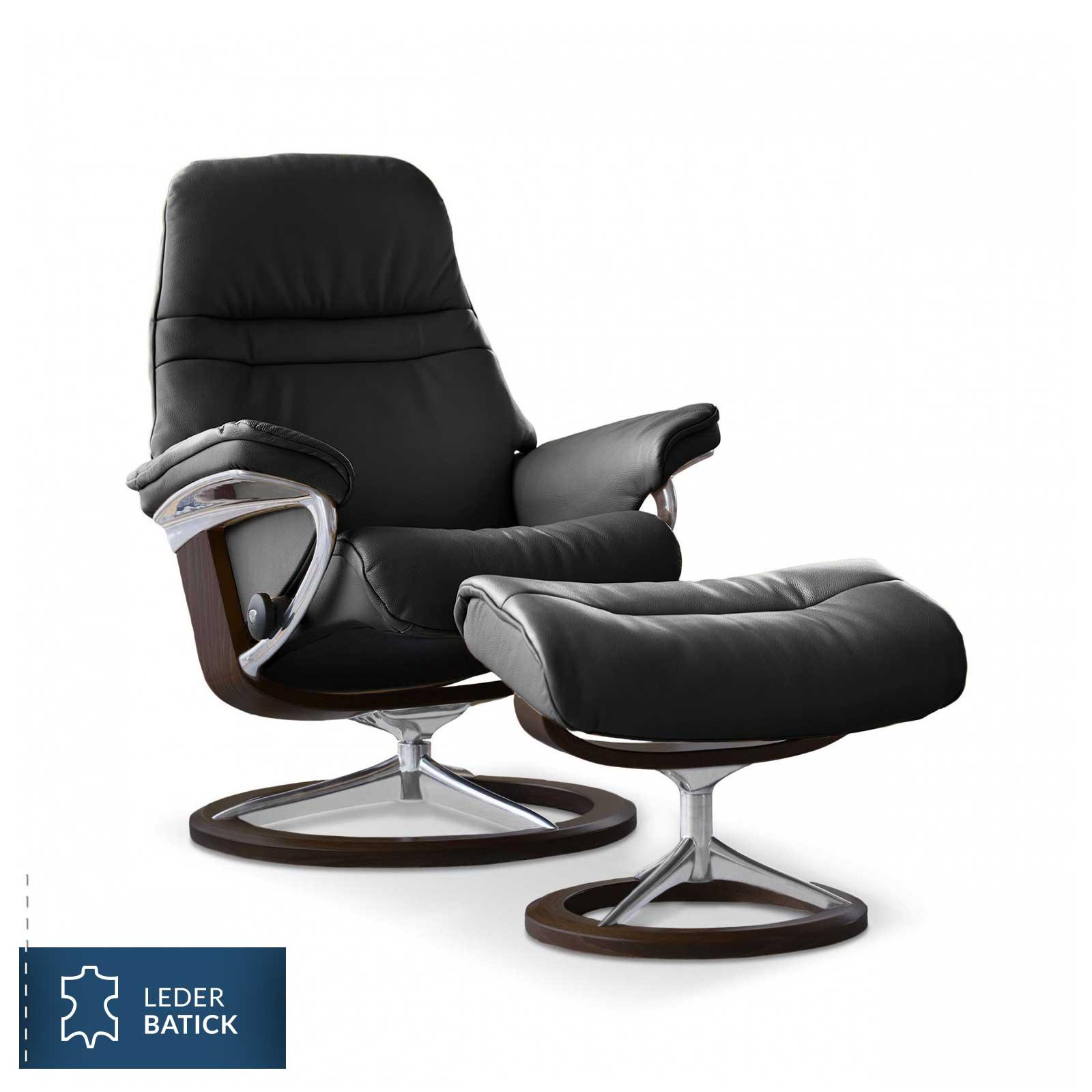stressless sunrise signature sessel batick black mit hocker. Black Bedroom Furniture Sets. Home Design Ideas