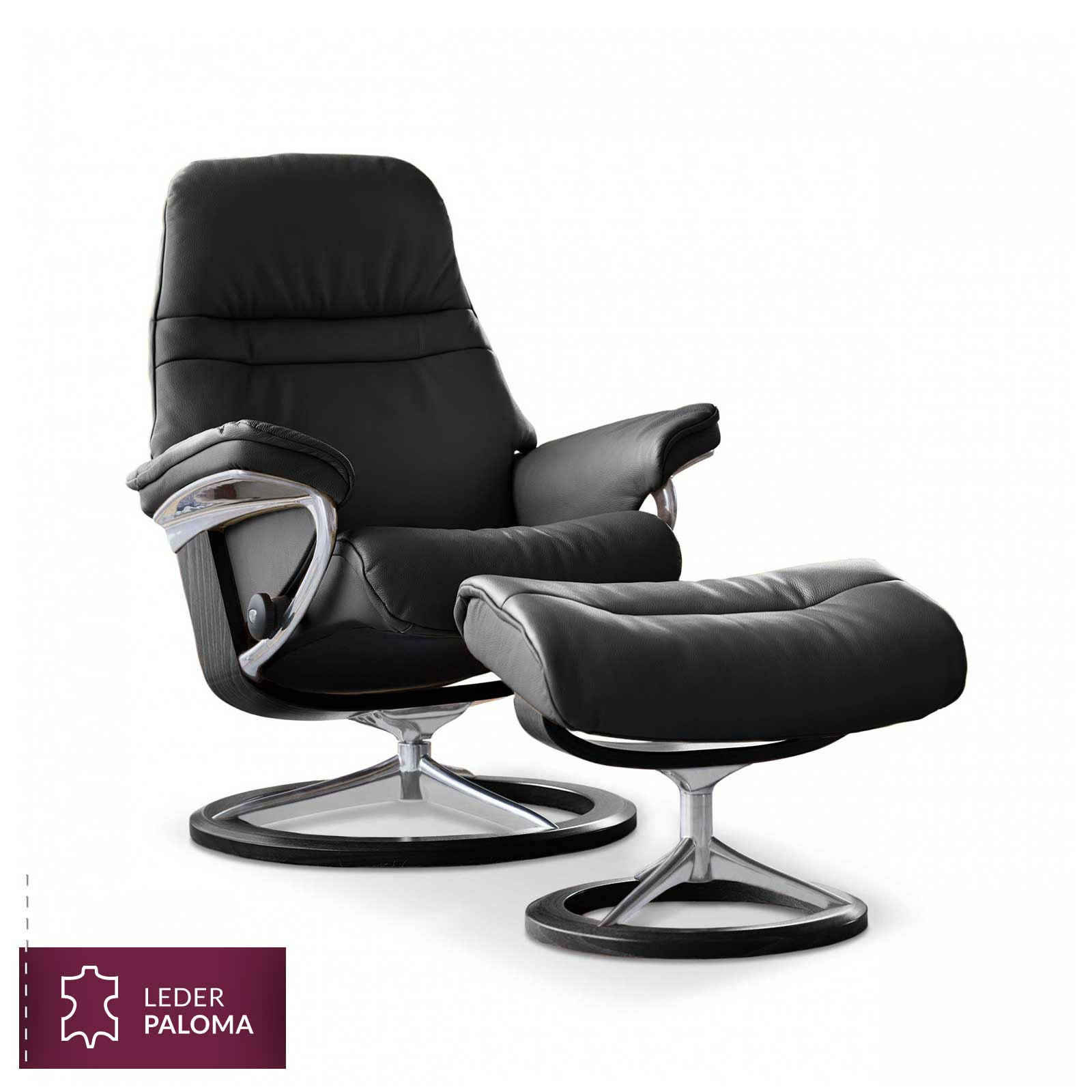 stressless sunrise signature sessel paloma black hocker stressless. Black Bedroom Furniture Sets. Home Design Ideas