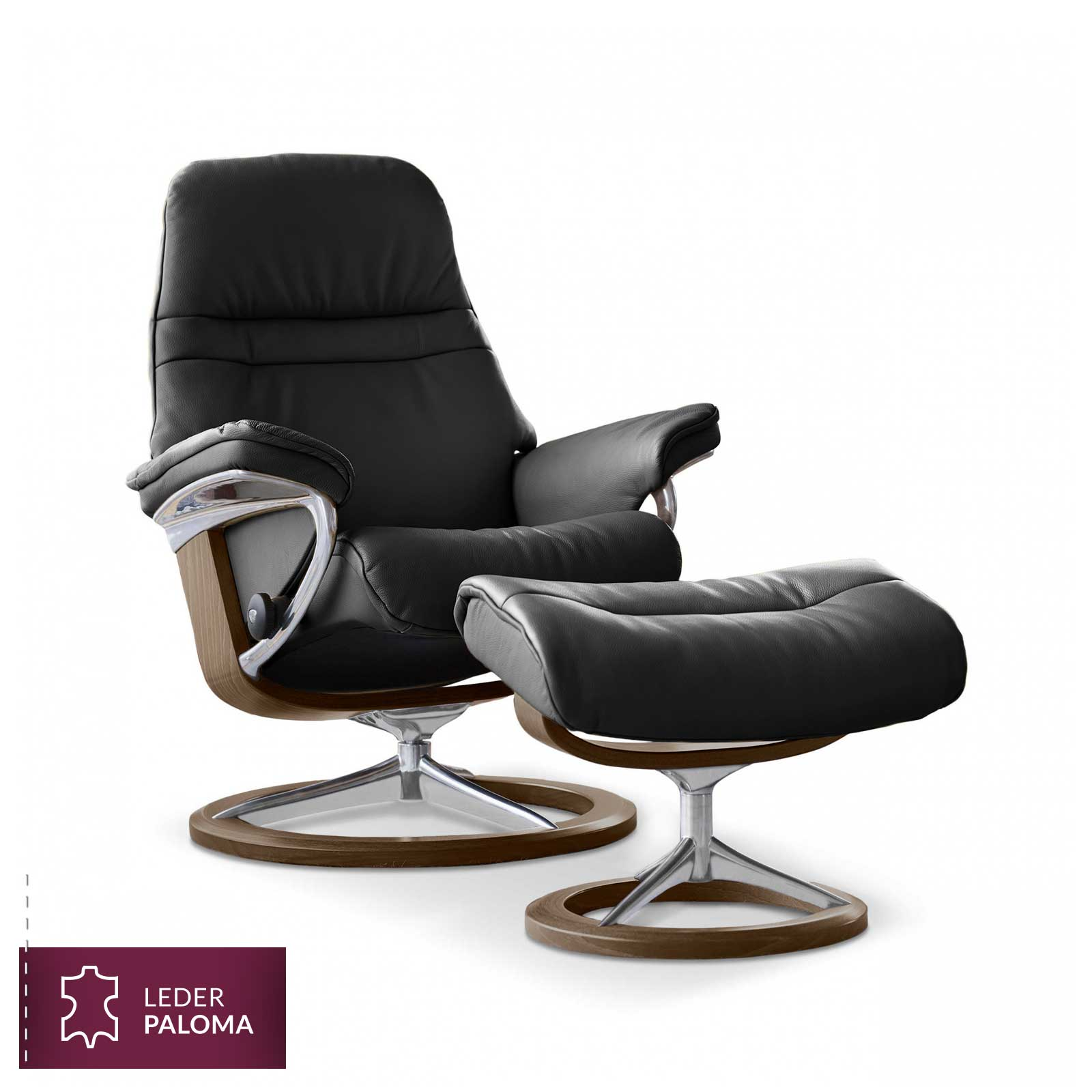 stressless sunrise signature m sessel paloma black mit hocker. Black Bedroom Furniture Sets. Home Design Ideas