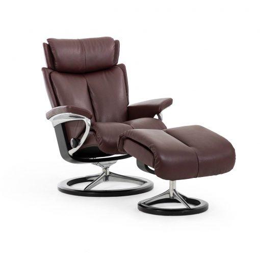 Stressless sessel magic lederfarbe amarone mit hocker for Sessel mit hocker schwarz