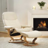 Stressless Sessel Consul Classic mit Lederbezug Batick cream und Classic Untergestell natur Umfeld
