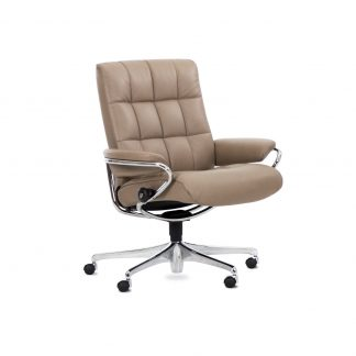 Sessel LONDON Low Back Leder Cori mole Starbase Gestell metall mit Rollen Stressless