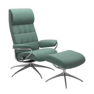 Sessel LONDON High Back mit Hocker Leder Paloma aqua green Gestell chrom Stressless