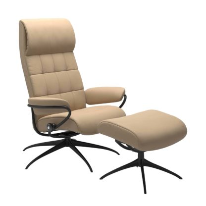 Sessel LONDON High Back mit Hocker Leder Paloma beige Gestell matt schwarz Stressless