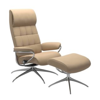 Sessel LONDON High Back mit Hocker Leder Paloma beige Gestell chrom Stressless